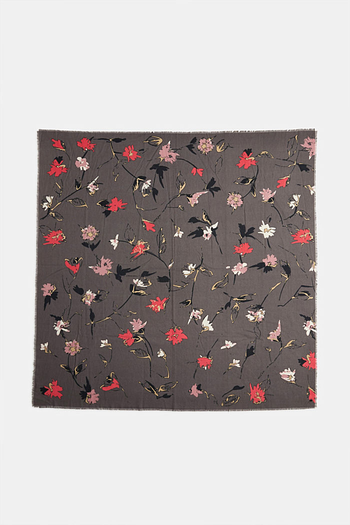 Recycled: square scarf with a floral pattern, GUNMETAL, detail image number 3