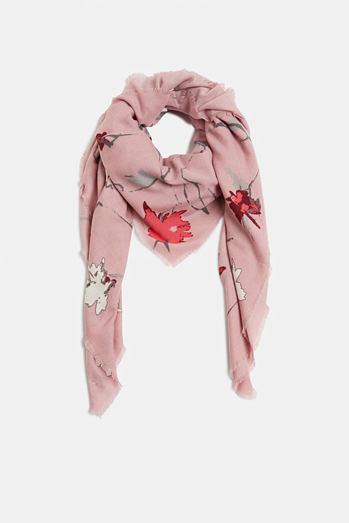 Recycled: square scarf with a floral pattern, NUDE, detail image number 0