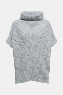 With wool/alpaca: poncho with a polo neck collar, GREY, detail