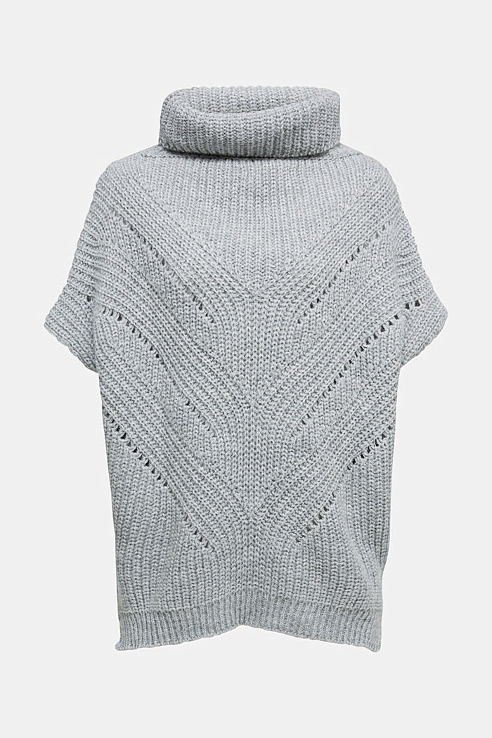 With wool/alpaca: poncho with a polo neck collar, GREY, detail image number 0