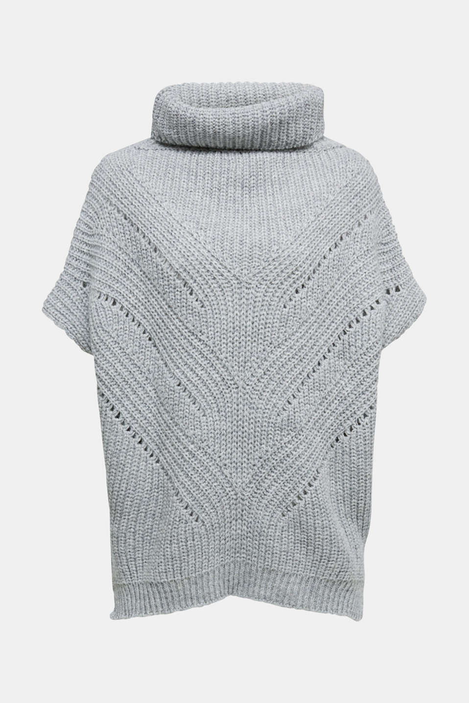 Esprit - With wool/alpaca: poncho with a polo neck collar