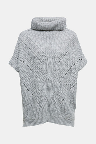 With wool/alpaca: poncho with a polo neck collar