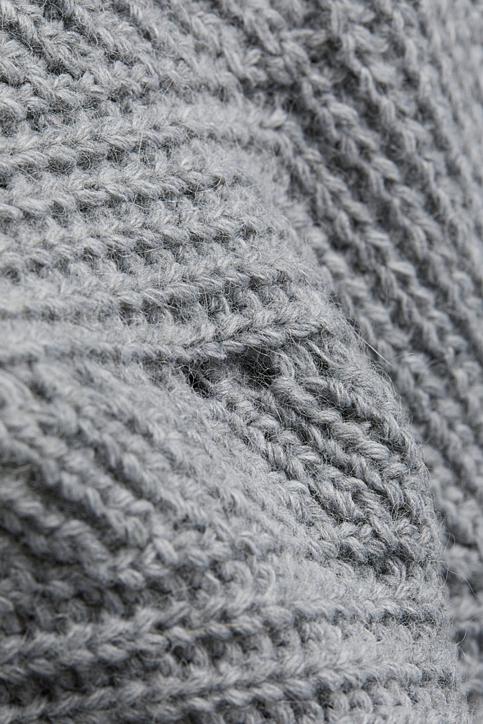 With wool/alpaca: poncho with a polo neck collar, GREY, detail image number 4