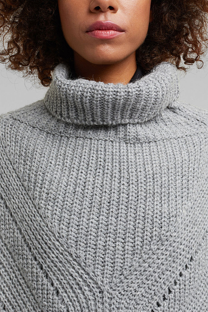 With wool/alpaca: poncho with a polo neck collar, GREY, detail image number 2