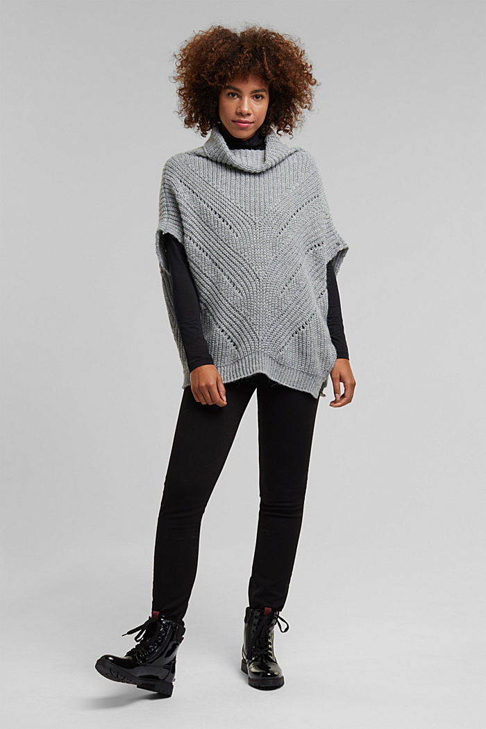 With wool/alpaca: poncho with a polo neck collar, GREY, detail image number 1