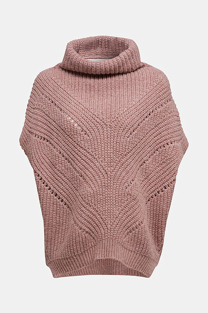 With wool/alpaca: poncho with a polo neck collar, OLD PINK, detail image number 0
