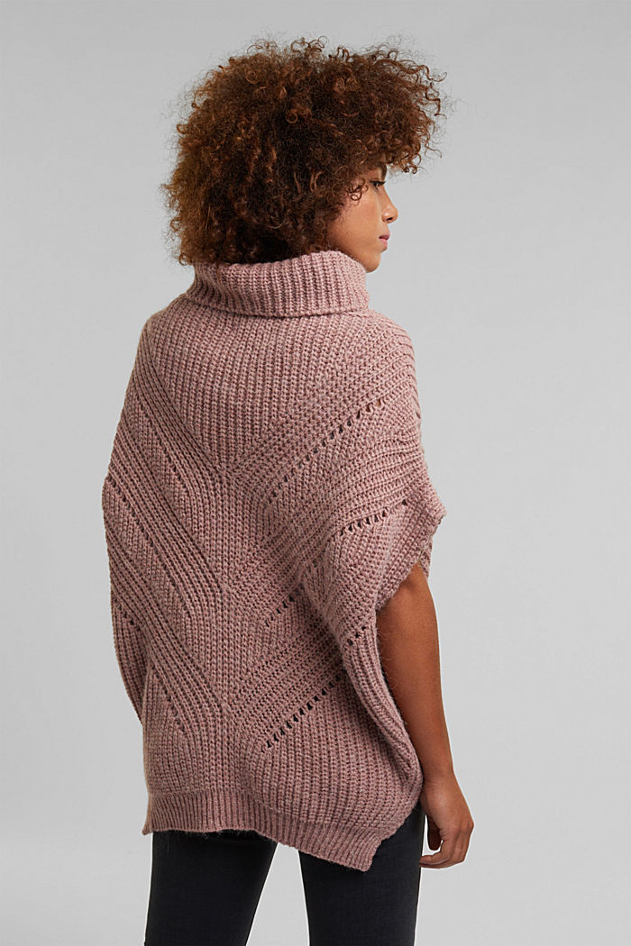 With wool/alpaca: poncho with a polo neck collar, OLD PINK, detail image number 3