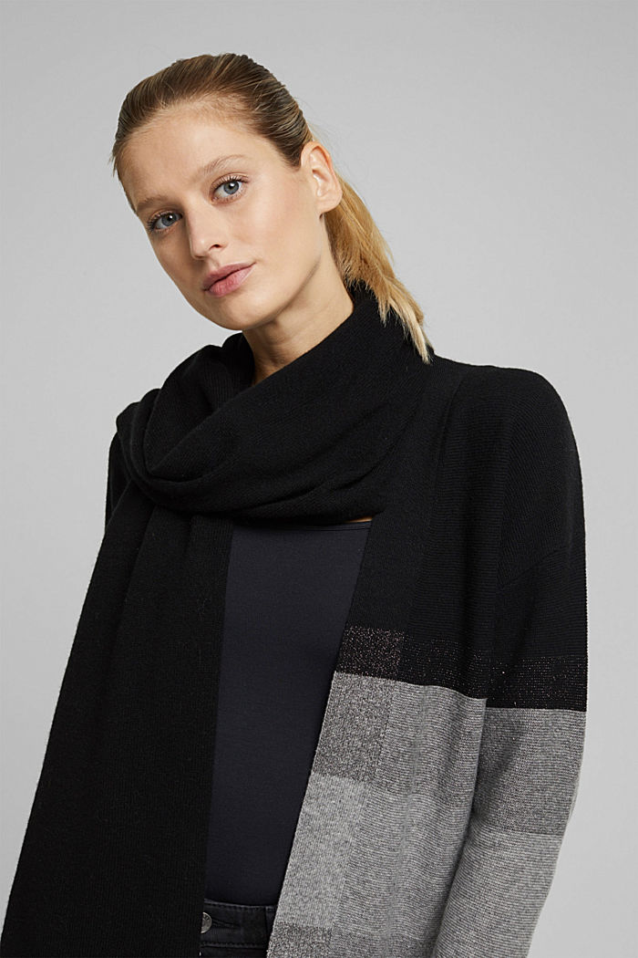 With cashmere: blended wool scarf