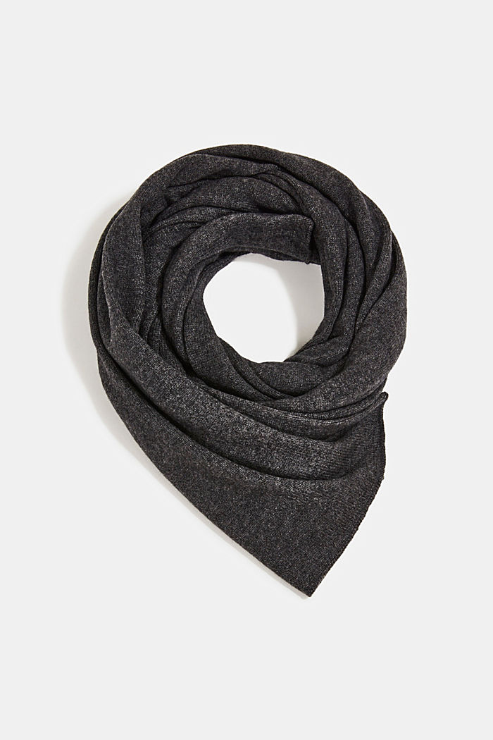 With cashmere: blended wool scarf, DARK GREY, detail image number 0