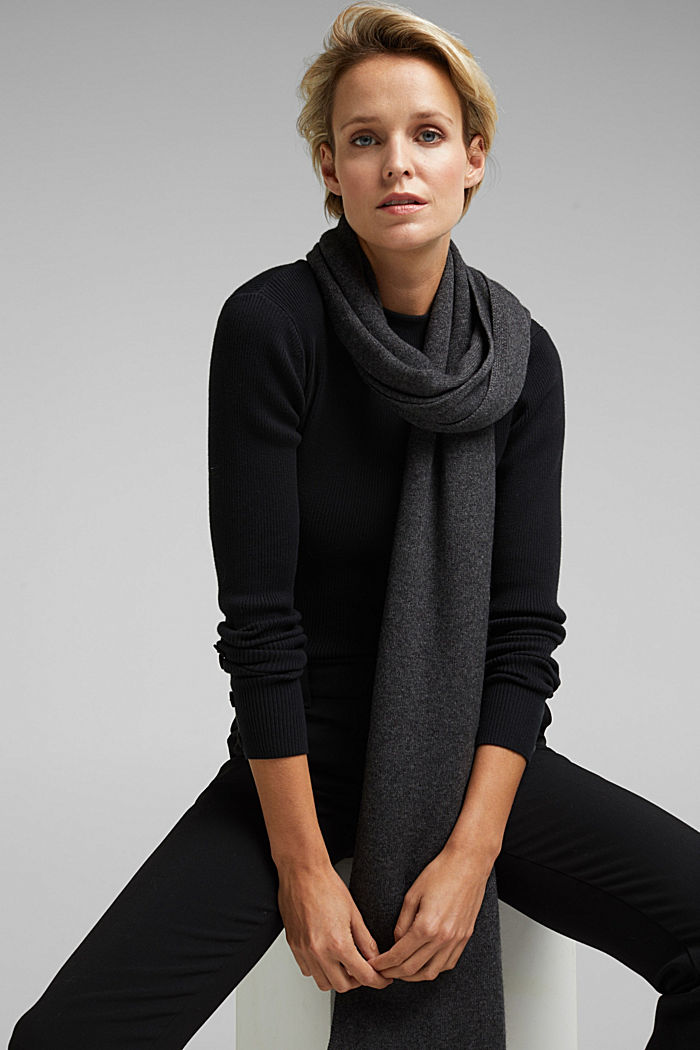 With cashmere: blended wool scarf, DARK GREY, detail image number 1
