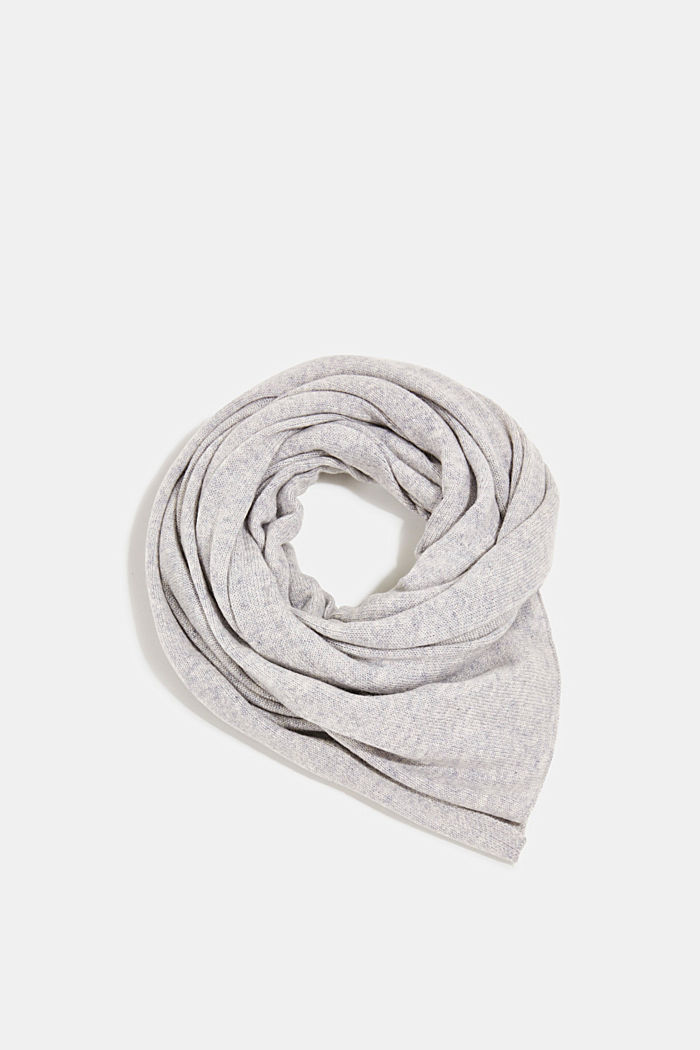 With cashmere: blended wool scarf, PASTEL GREY, detail image number 0