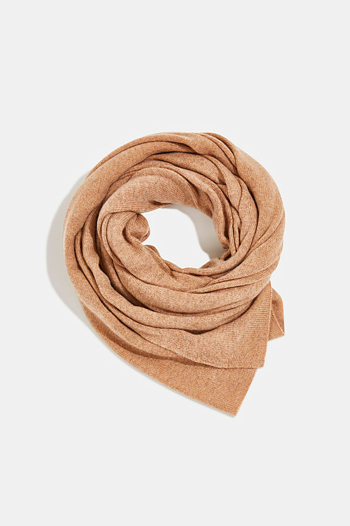 With cashmere: blended wool scarf, CAMEL, overview