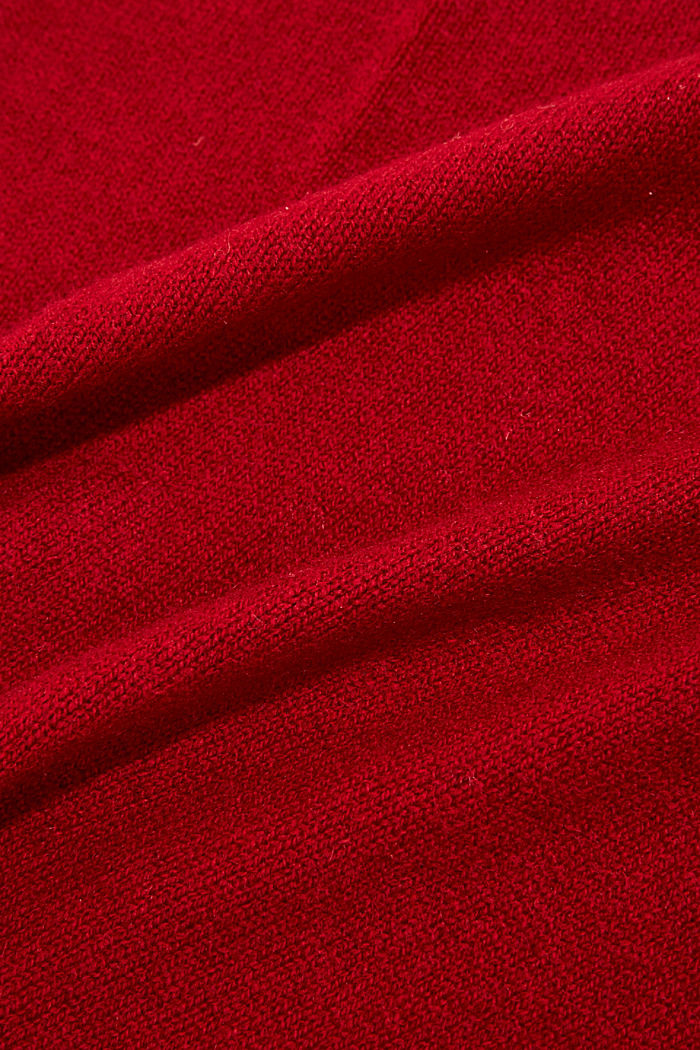 With cashmere: blended wool scarf, RED, detail image number 2