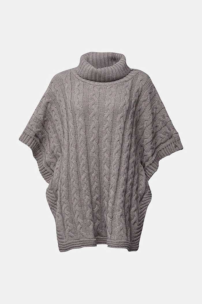 With alpaca: poncho with a cable pattern, GREY, detail image number 0