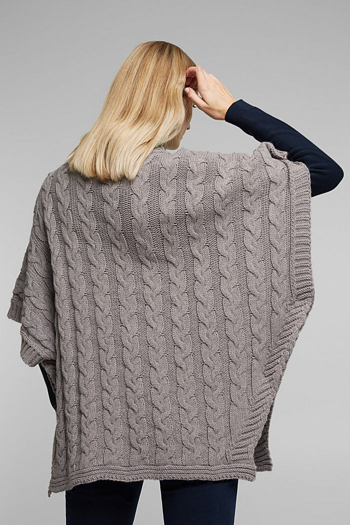 With alpaca: poncho with a cable pattern, GREY, detail image number 4