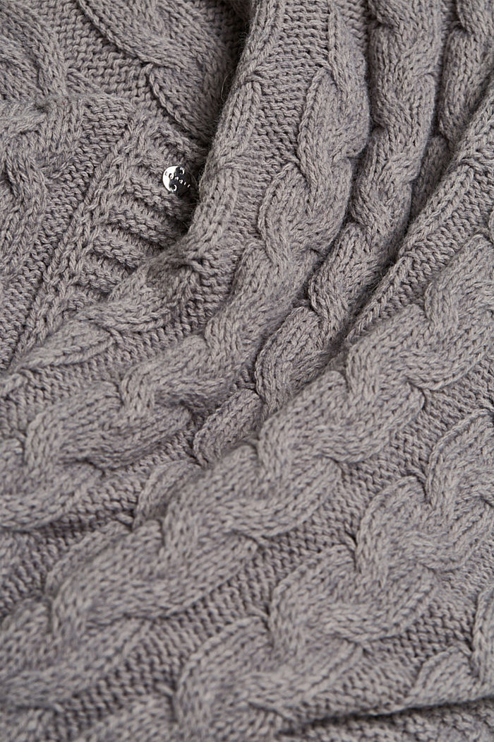 With alpaca: poncho with a cable pattern, GREY, detail image number 2