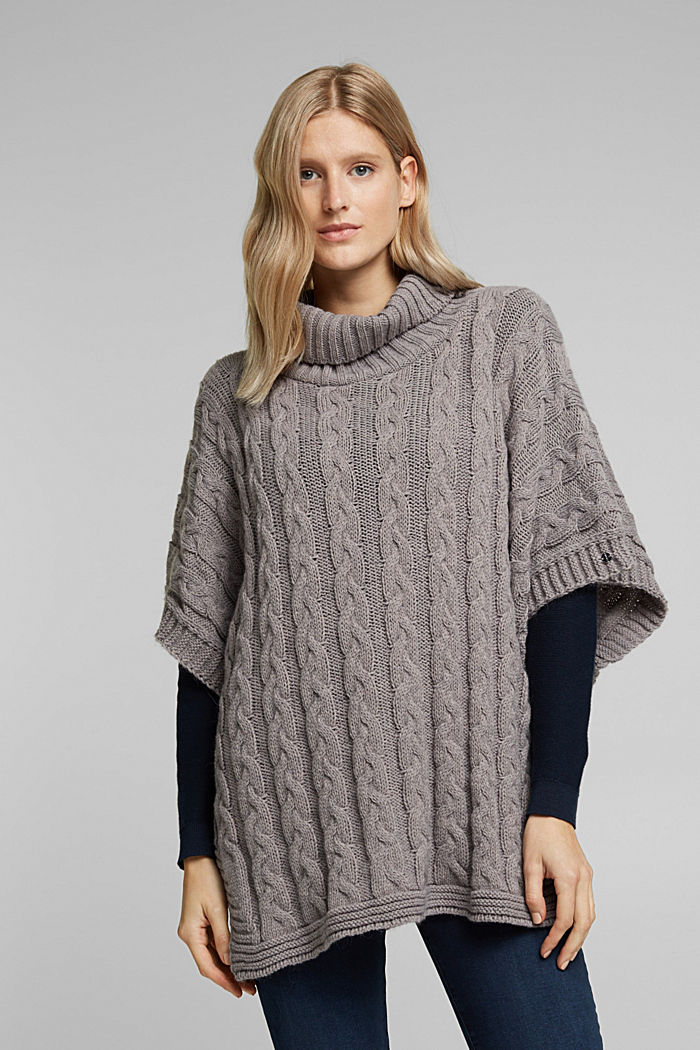 With alpaca: poncho with a cable pattern, GREY, detail image number 1