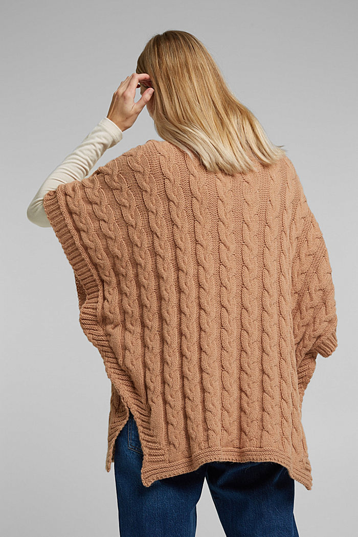 With alpaca: poncho with a cable pattern, CAMEL, detail image number 3