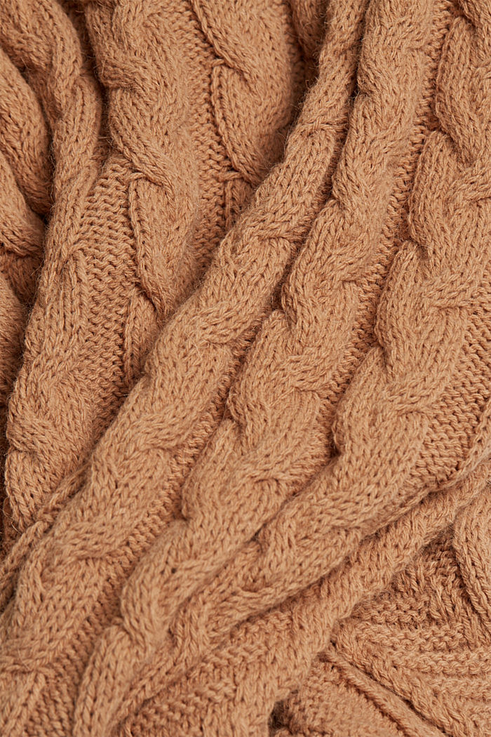 With alpaca: poncho with a cable pattern, CAMEL, detail image number 2