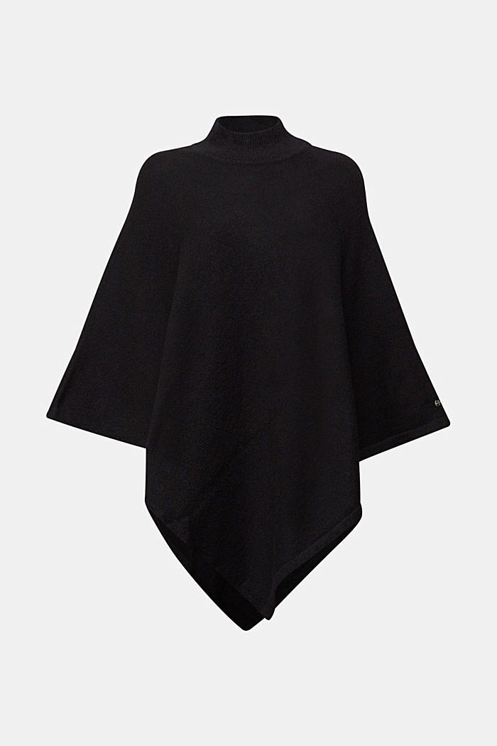 Recycled: Poncho mit Zipfelsaum, BLACK, detail image number 0
