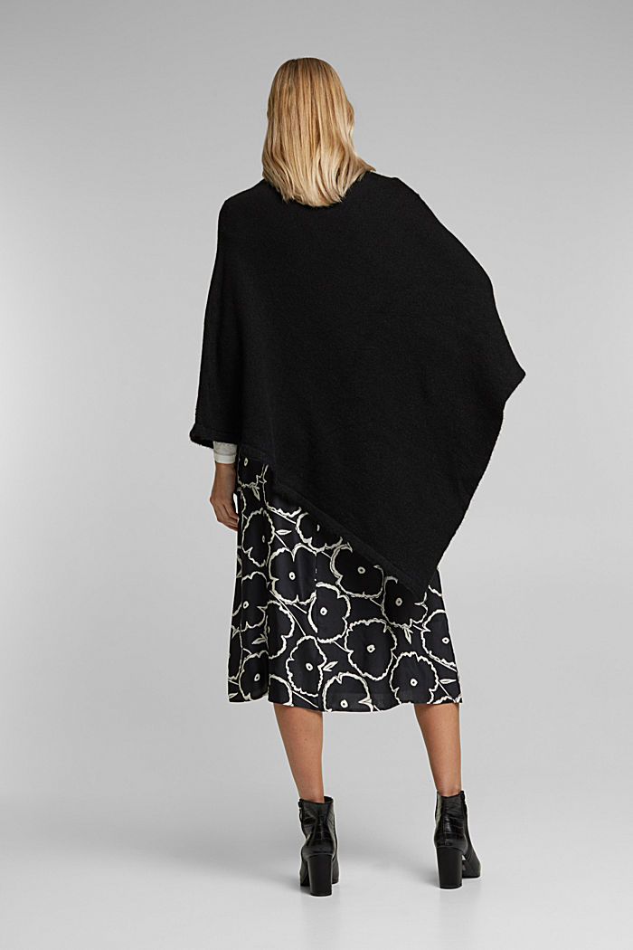 Recycled: Poncho mit Zipfelsaum, BLACK, detail image number 3