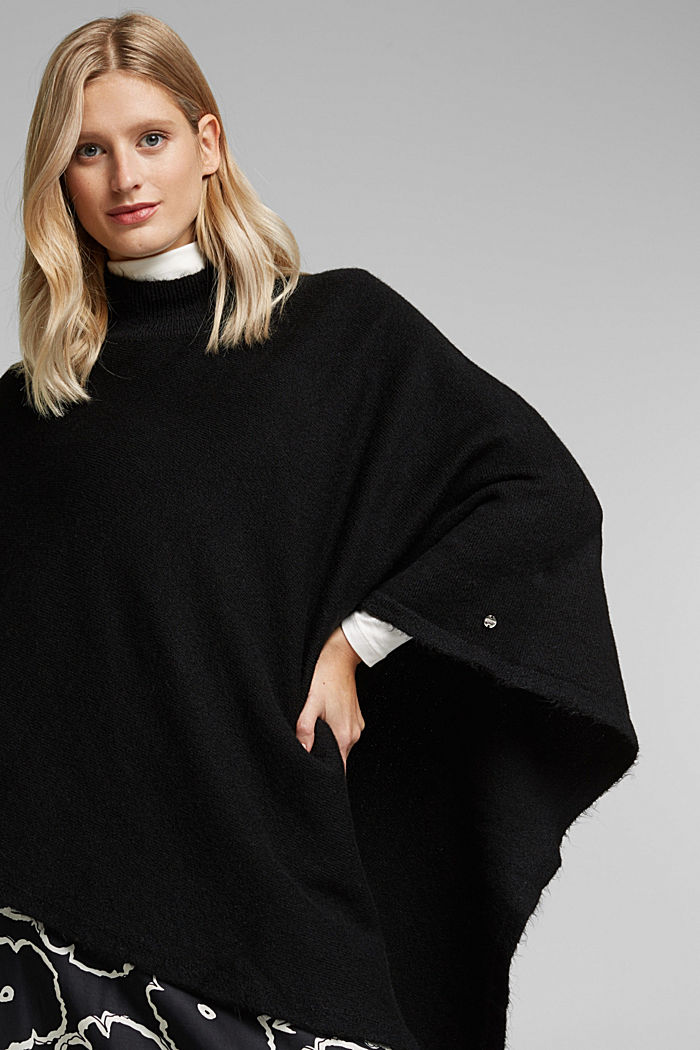 Recycled: Poncho mit Zipfelsaum, BLACK, detail image number 1