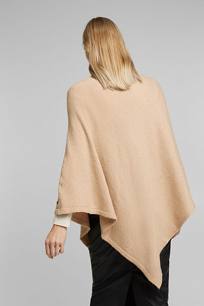 With wool: knit poncho, BEIGE, detail image number 3