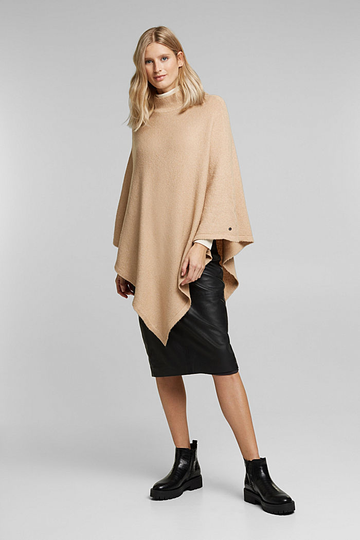 With wool: knit poncho, BEIGE, detail image number 1