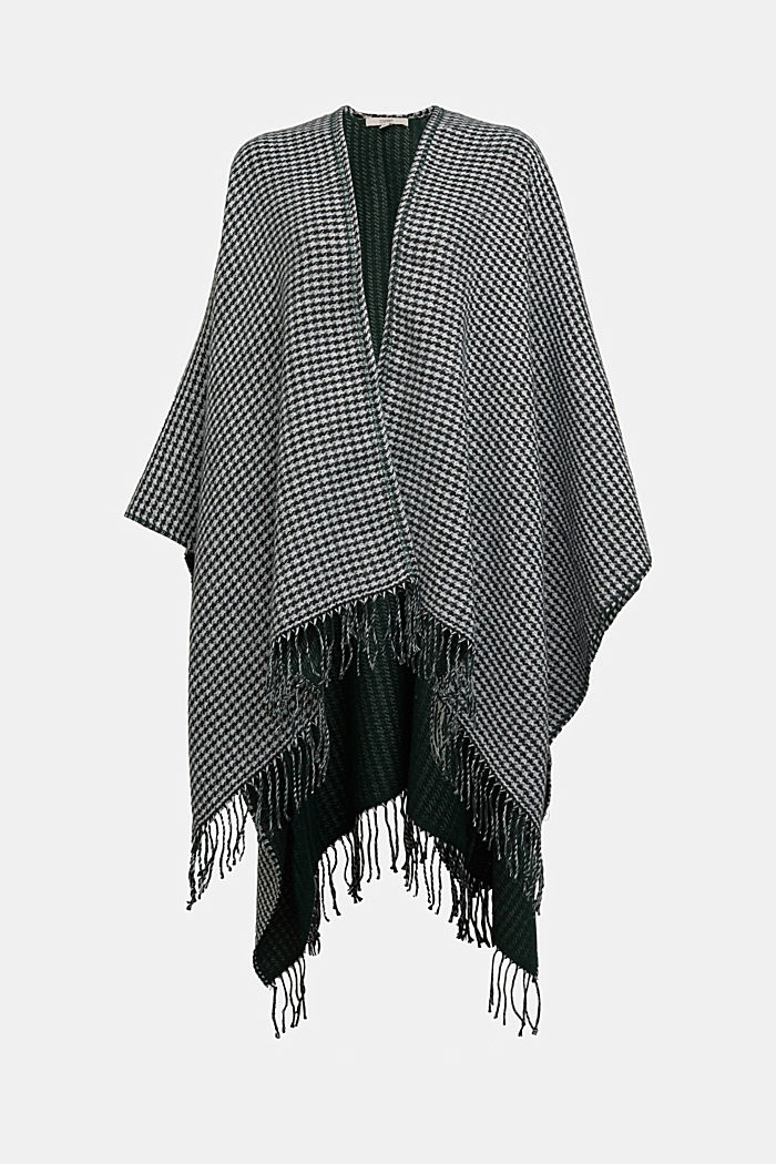 Prince of Wales check fringed poncho, BOTTLE GREEN, detail image number 0