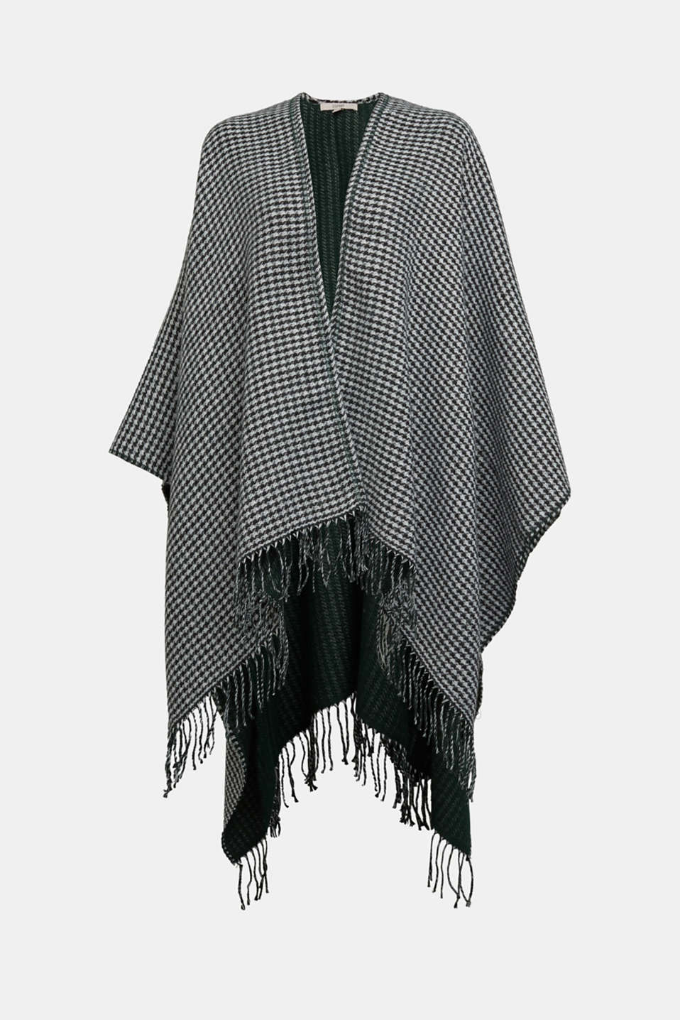 Esprit - Prince of Wales check fringed poncho