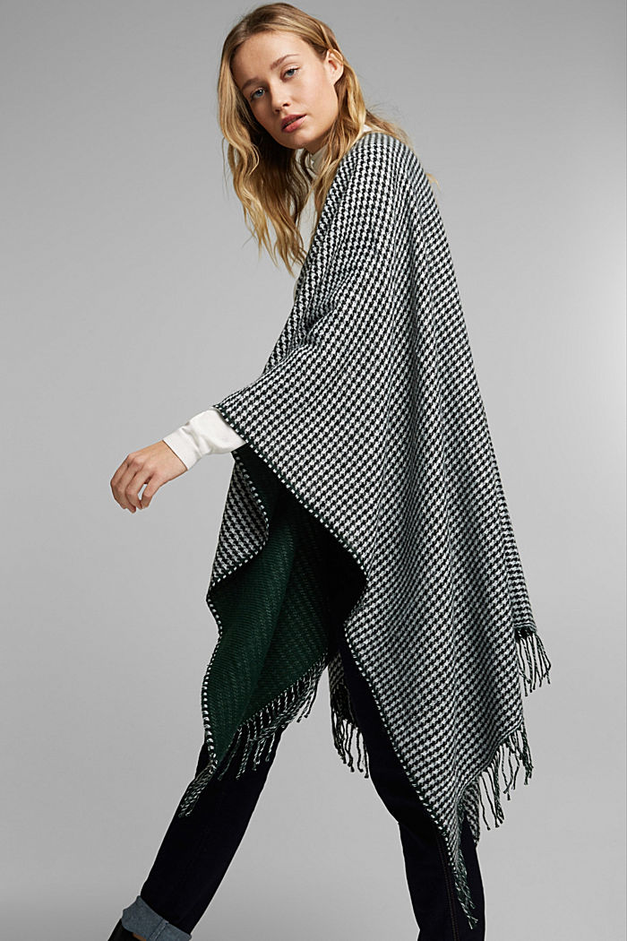 Prince of Wales check fringed poncho, BOTTLE GREEN, detail image number 1