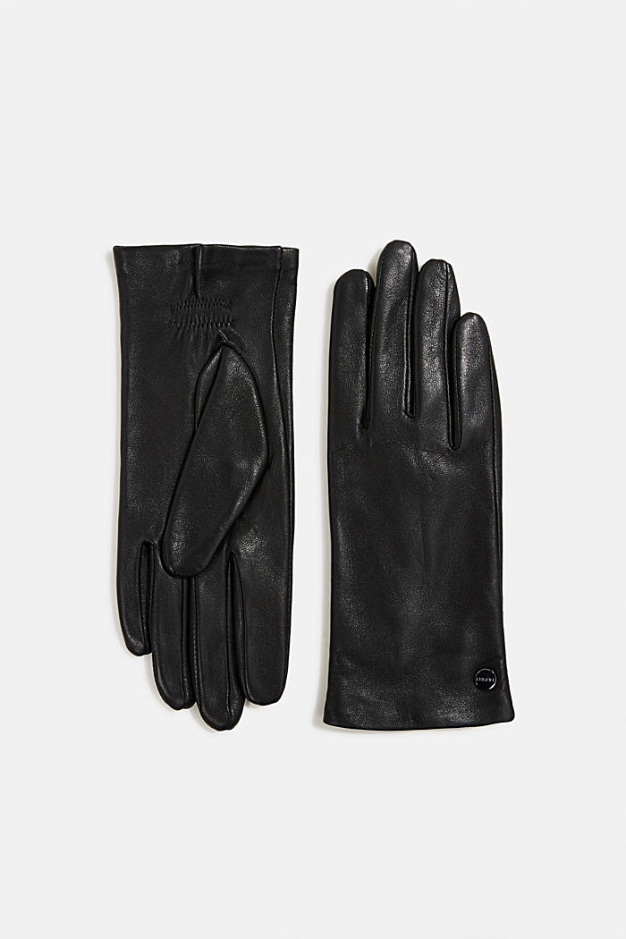 Lamb leather gloves, BLACK, detail image number 0
