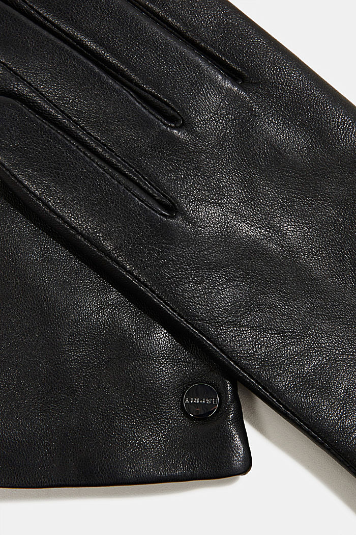 Lamb leather gloves, BLACK, detail image number 1