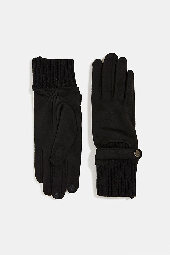Touchscreen-Handschuhe im Material-Mix, BLACK, detail image number 0