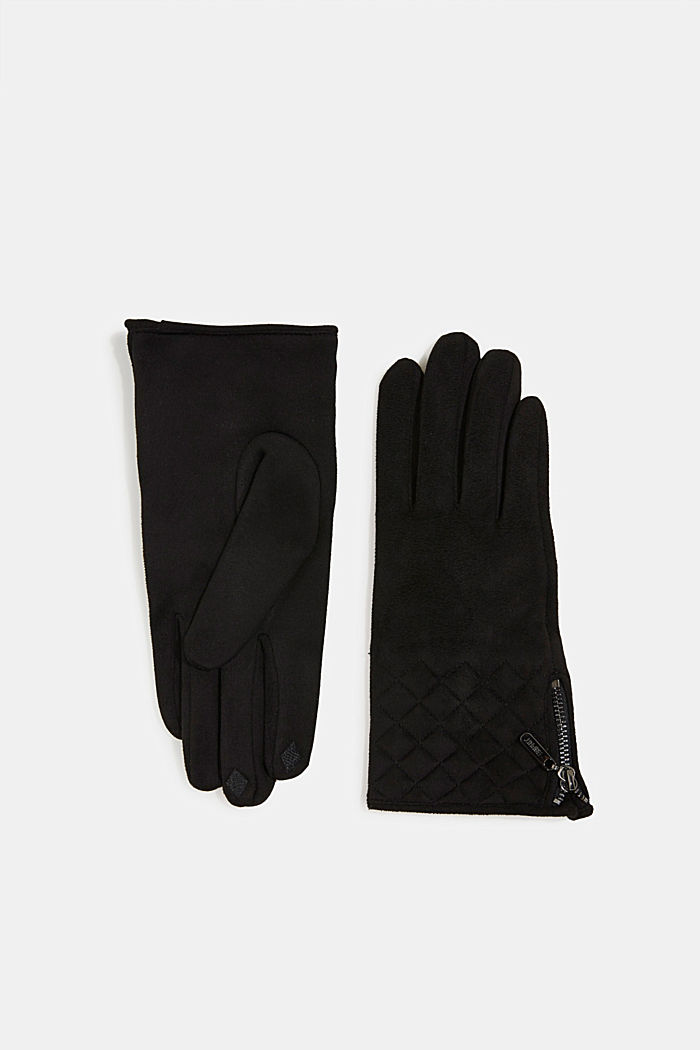 Faux napped leather touchscreen gloves, BLACK, detail image number 0