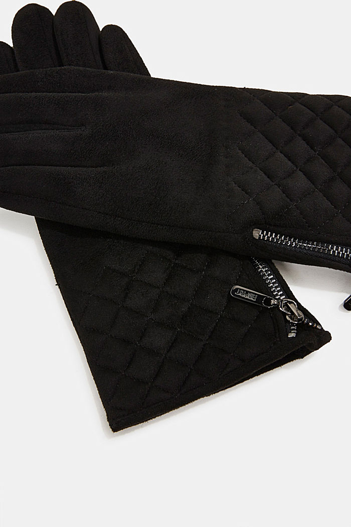 Faux napped leather touchscreen gloves, BLACK, detail image number 1