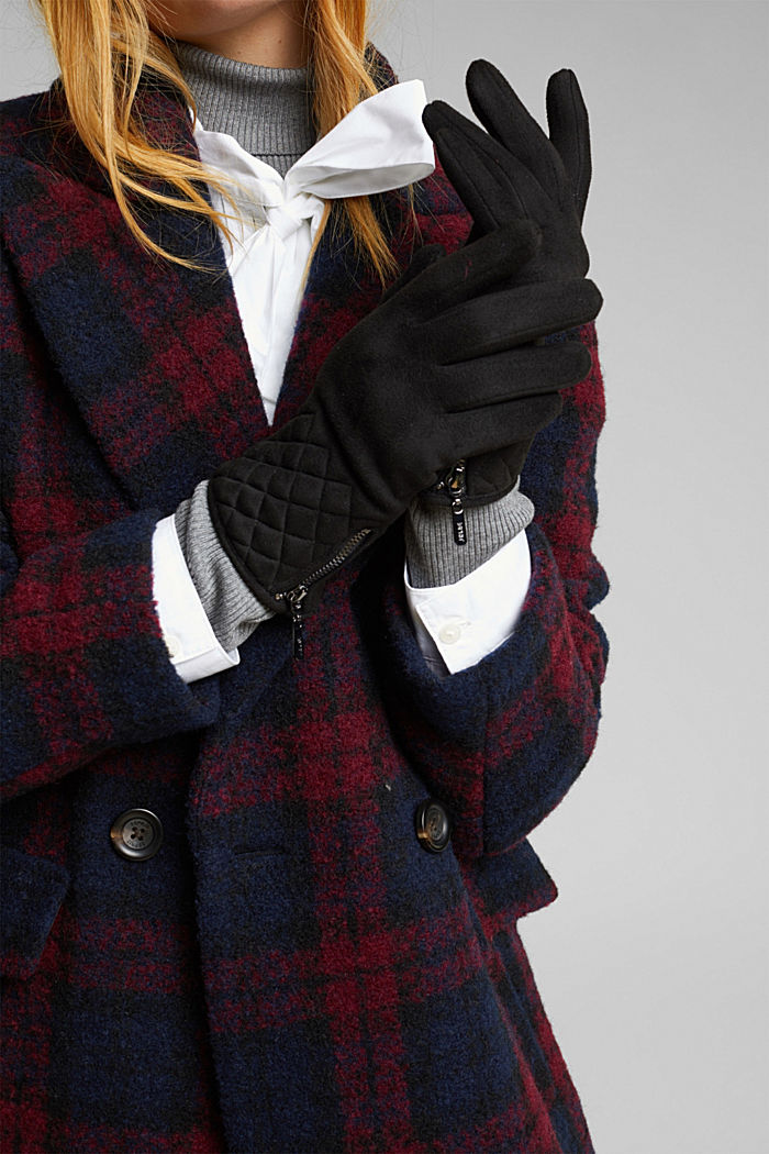Faux napped leather touchscreen gloves, BLACK, detail image number 2