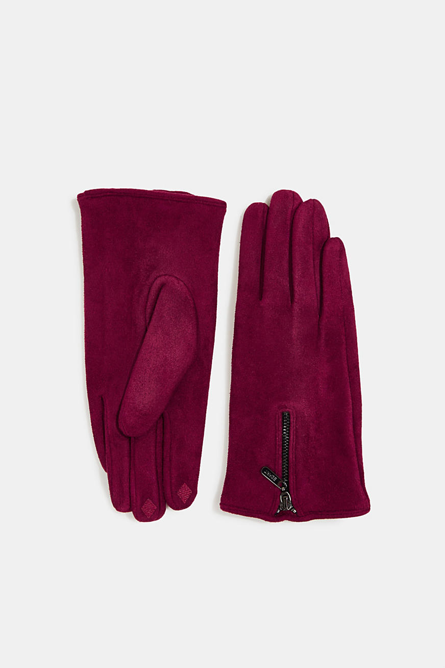 Faux napped leather touchscreen gloves
