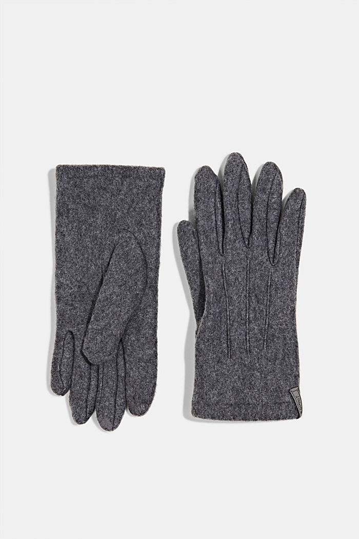 Touchscreen fleece gloves, GREY, detail image number 0