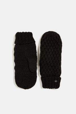 Mittens with plush lining, BLACK, detail
