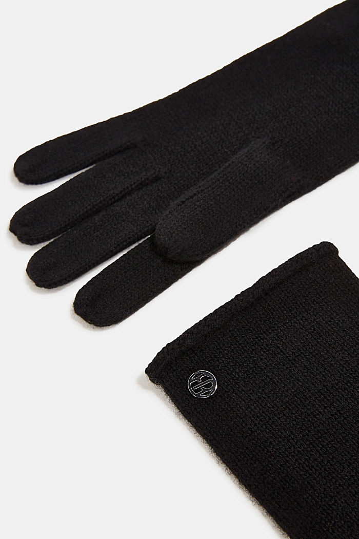 Handschuhe mit Kaschmir, BLACK, detail image number 1