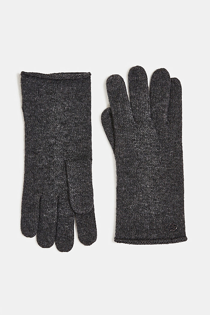 Gloves with cashmere, DARK GREY, detail image number 0