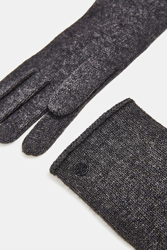 Gloves with cashmere, DARK GREY, detail image number 1