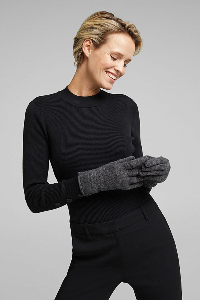 Gloves with cashmere, DARK GREY, detail image number 2