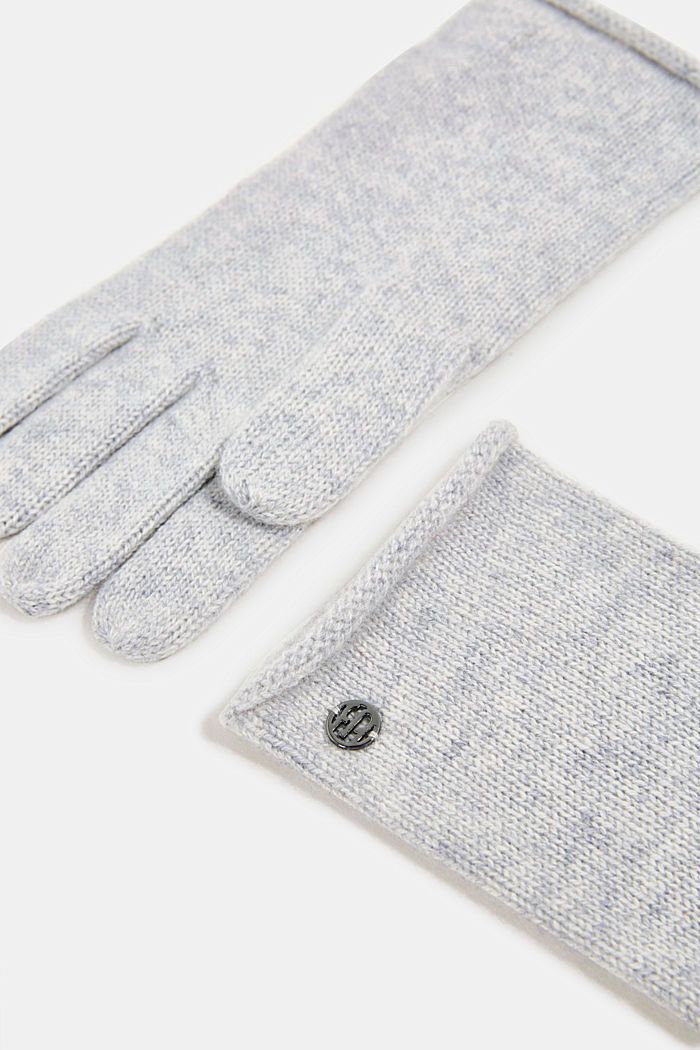Gloves with cashmere, PASTEL GREY, detail image number 1
