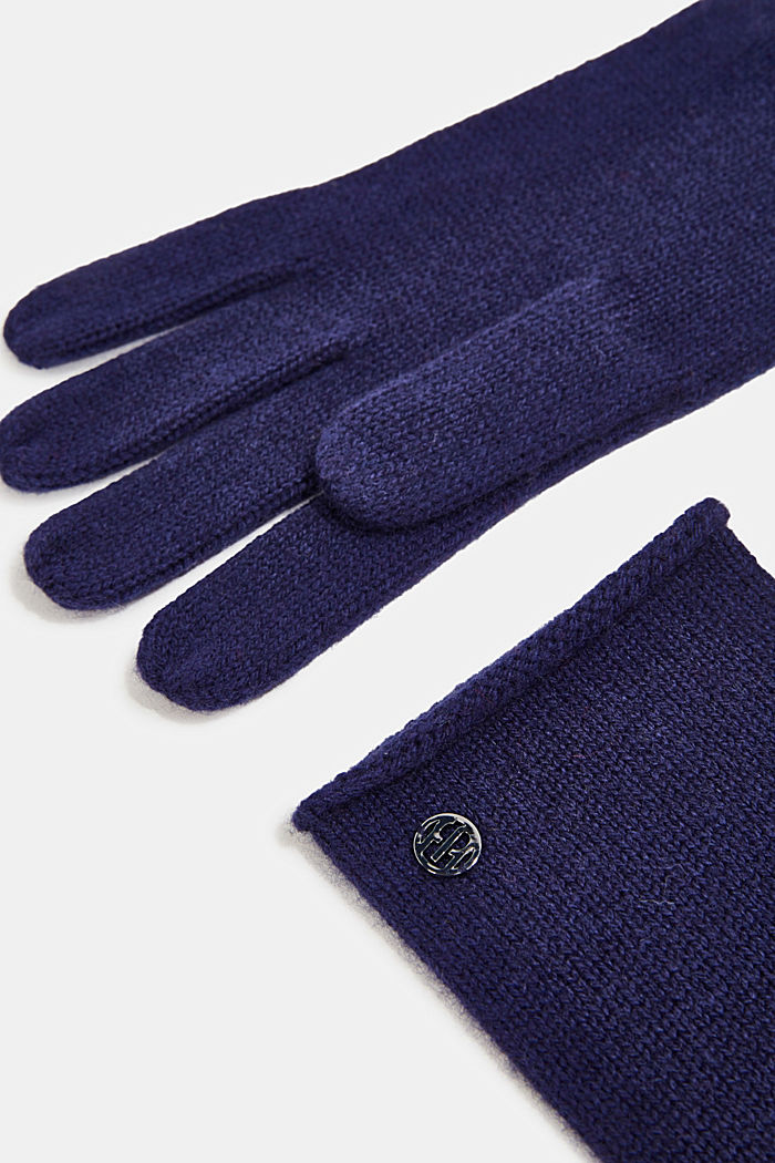 Gloves with cashmere, DARK BLUE, detail image number 1