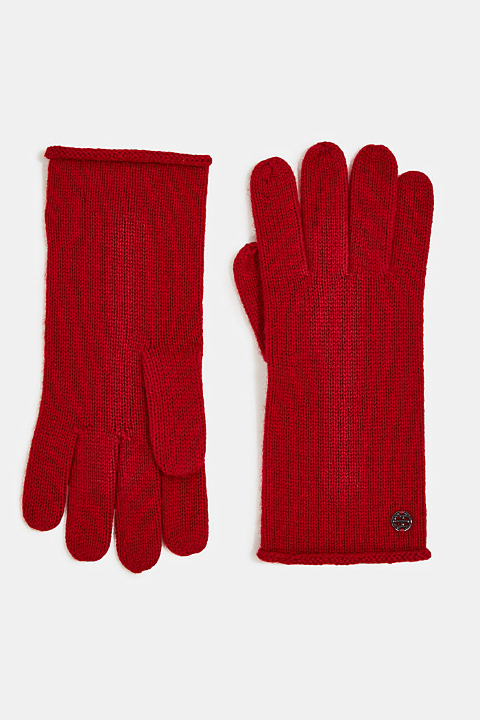 Gloves with cashmere, RED, detail image number 0