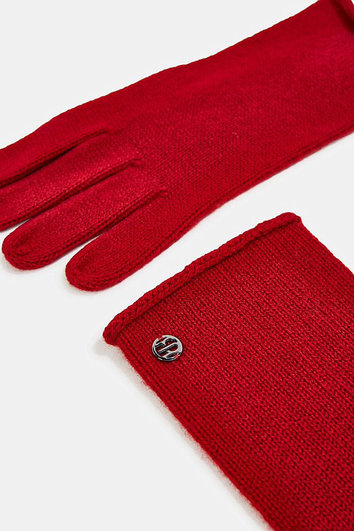 Gloves with cashmere, RED, detail image number 1