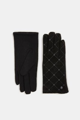 Made of leather/blended wool: monogram gloves, BLACK, detail