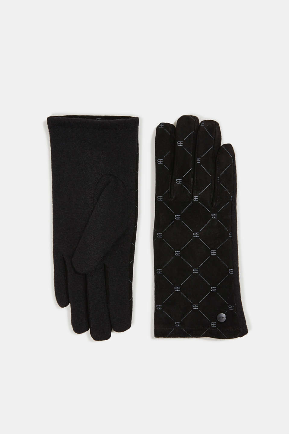 Esprit - Made of leather/blended wool: monogram gloves